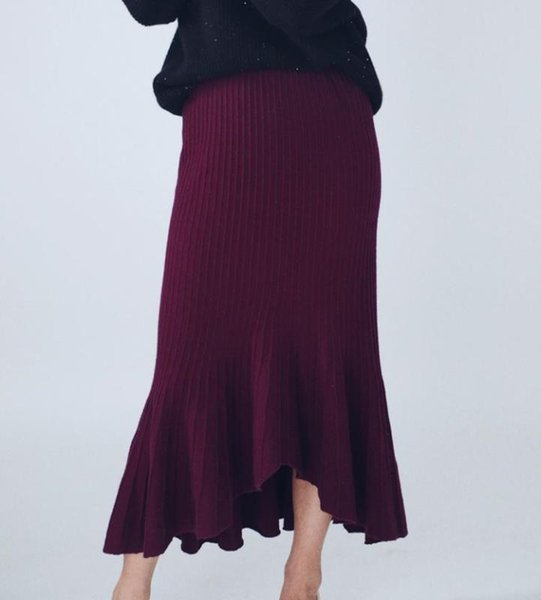 100%cashmere wrinkle knit women irregular mermaid trumpet skirts spring autumn summer one&over size
