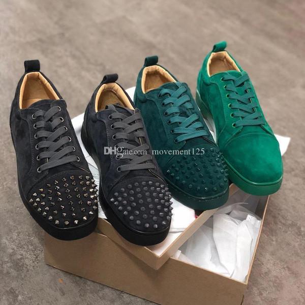 2019 Новый бренд Дизайнер Low Cut замша Шипастые тренеры Flats Кружевные обувь Роскошные
