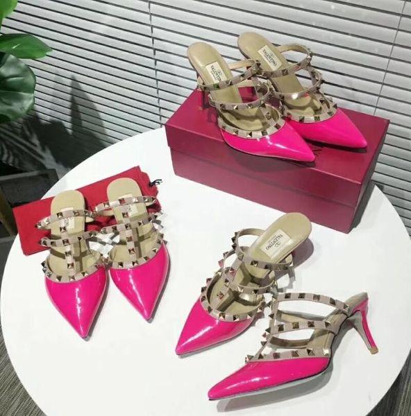 Новая мода женские туфли на шпильках сандалии женская кожаная обувь ну вечеринку туфли на высоком каблуке женщина случайные заклепки сандалии 19 s # 11016
