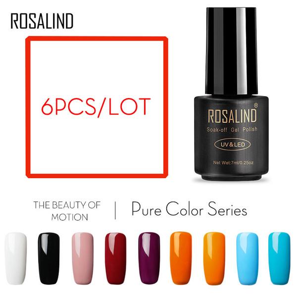 (Choose 6)Rosalind 7ML Gel Set Pure series UV Soak off Primer Fast Dry Long Lasting Lacquer For Nail Art Manicure Nail Polish