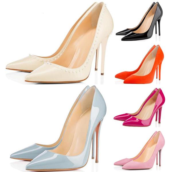 Роскошные дизайнерские платья женщин обувь с красной подошвой Высокие каблуки 8 см 10см 12см Nude Черный Красный Розовый кожаные остроносые Насосы платье обуви фото