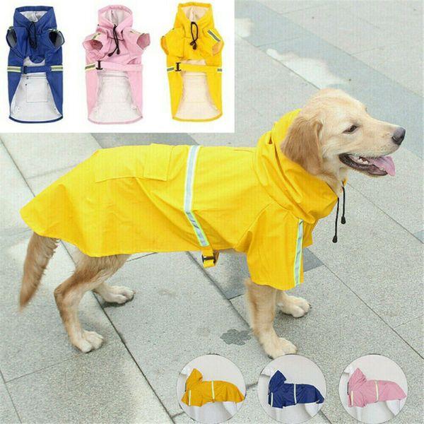 Pet Собака Плащ Водонепроницаемый Куртка С Капюшоном Мода Большая Собака Плащ Светоотражающая Полоса Плащ Для Собак Водонепроницаемый Одежда Для Домашних Животных фото