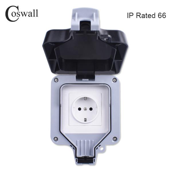 Coswall IP66 всепогодный Водонепроницаемый Открытый Wall Разъем питания 16A EU Standard Электр фото