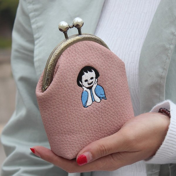 korean coin purse handwork embroidered cartoon woman purse retro matte leather pearl buckle clip small female (480496783) photo
