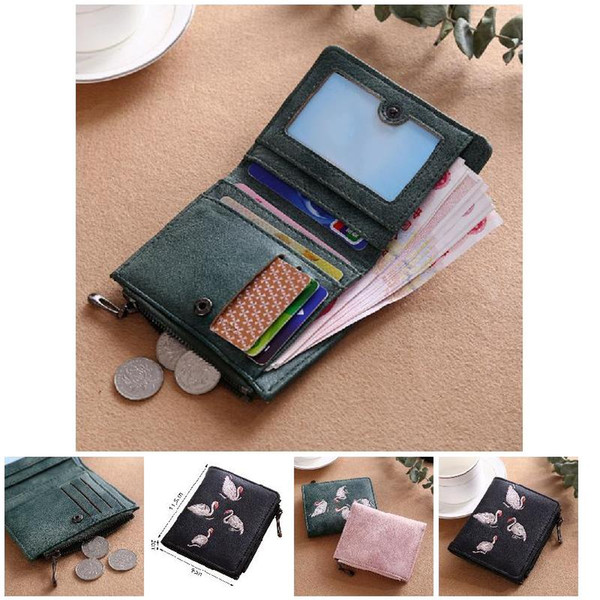 women short wallet pu leather cards holder swan embroidery coin pocket zipper casual purse ka-best (466238192) photo