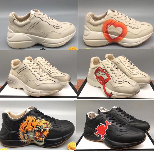 Rhyton Vintage Кожаные кроссовки Мужская дизайнерская обувь Женская повседневная обувь Классическая белая кожаная толстая подошва Винтажная обувь для пап