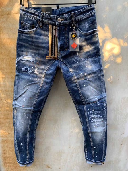 Fashion Mens Distressed Ripped Biker Jeans Casual Trousers Slim Fit Motorcycle Biker Denim Fashion Design Pants Hip Hop Mens Jeans