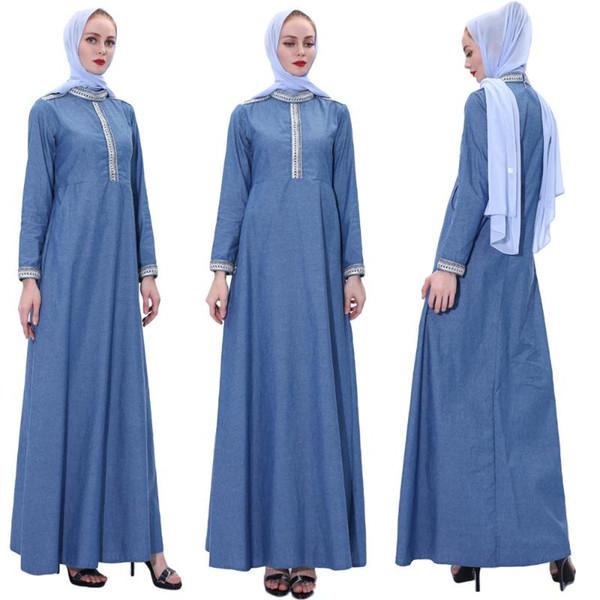 Muslim Women Denim Kaftan Abaya Dubai Islamic Dress Caftan Robe Jilbab Maxi Cocktail Party Arab Gown Turkish Clothing Fashion