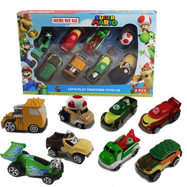 8шт / комплект Карманный Mario Kart Автомобили Metal Super Mario Bross Fgirue 1:64 Diecast автомобили игру фото