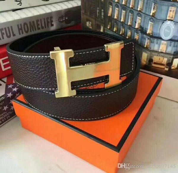 2018 Men fashion brand designers luxury genuine leather belt gold silver letter buckle waistband belts Free box