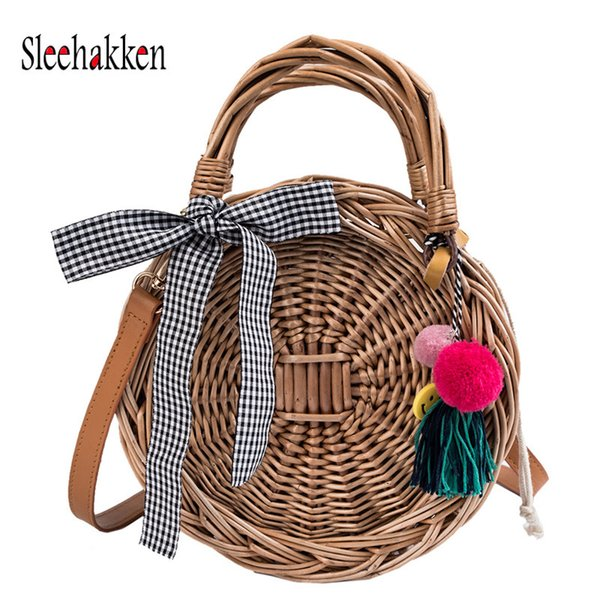 bamboo womens round straw bags beach tote bag hobo summer handwoven bags purse with pom poms (498536239) photo