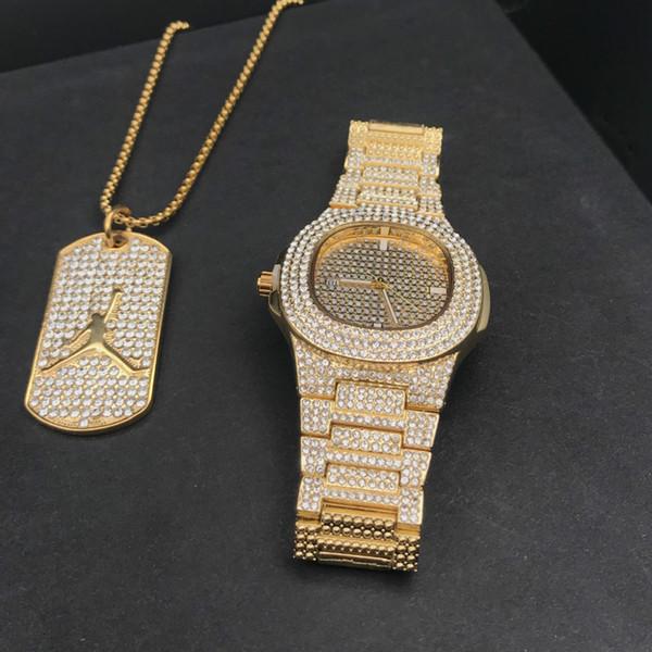 Luxury Gold хип-хоп ювелирные изделия стильные часы браслет ожерелье Combo Set Часы Алмазн