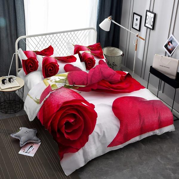 Цветочная серия Цветущие красные розы 3D реалистичные комплекты постельного бель