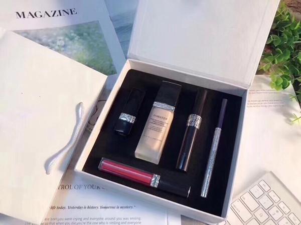 Известный бренд макияж коллекция набор губная помада блеск для губ тушь для ресниц навсегда жидкая основа двойной конец карандаш для бровей 5 в 1 комплект
