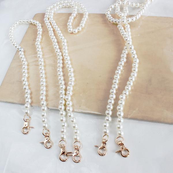 2019 imitate pearl bag strap fashion women shoulder handbag chain charming purse handles cute gold chain tote women bag parts (478940321) photo