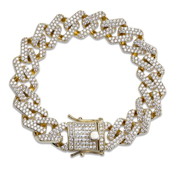 14мм 6/7/8/9 / 10inch прямой край Diamonds кубинский Link Chain Браслет Золото Серебро Iced Out фианит фото