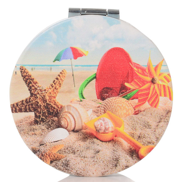 lovely makeup mirror compact cosmetic makeup round pocket purse double sides mirror with seashells picture (492474038) photo