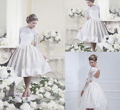 Women Long sleeve Prom ball gown Lace Wedding MIni Dress