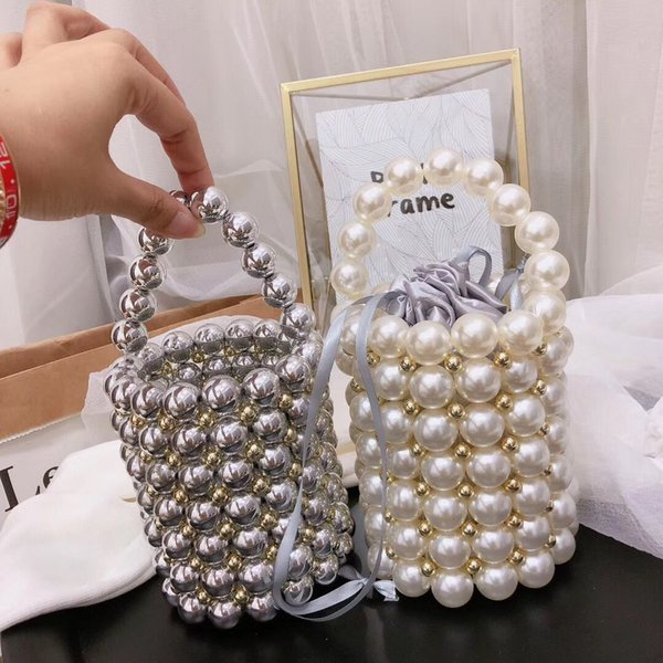 ins handmade pearl bags retro beaded bucket bags ladies handbags evening clutch purses totes bag women handbags 2019 (477645658) photo