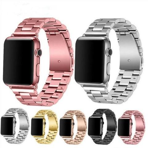 Solid metal band for apple watch 4 3 2 wri tband  tainle    teel watch bracelet me h  trap replacement 38mm 42mm 40mm 44mm