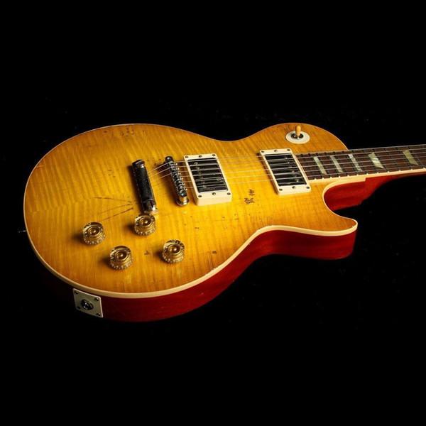 10  cu tom  hop paul ko  off 1959 relic aged honey bur t falme maple electric guitar one piece neck  no  carf joint   1 pc mahogany body