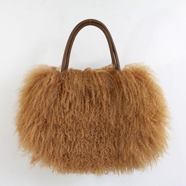 classic women fluffy real mongolian fur bag handbag purse yh211 (543216889) photo