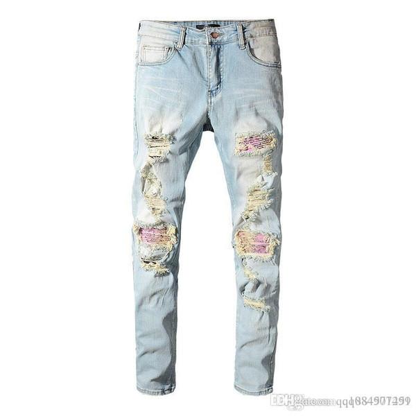 Мужские дизайнерские брюки Мужские тонкие рваные проблемные джинсы на молнии модный бренд мужские хип-хоп джинсы дизайнерские брюки роскошные джинсы мужские брюки фото