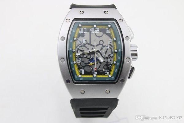 Высокое качество человек роскошь 011 часы бренд резиновый серебряный корпус 6 иглы фото