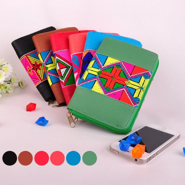2018 new flower embroidered leather wallet phone card coin purse handmade ethnic floral embroidery short handbag for girl gift (483586965) photo