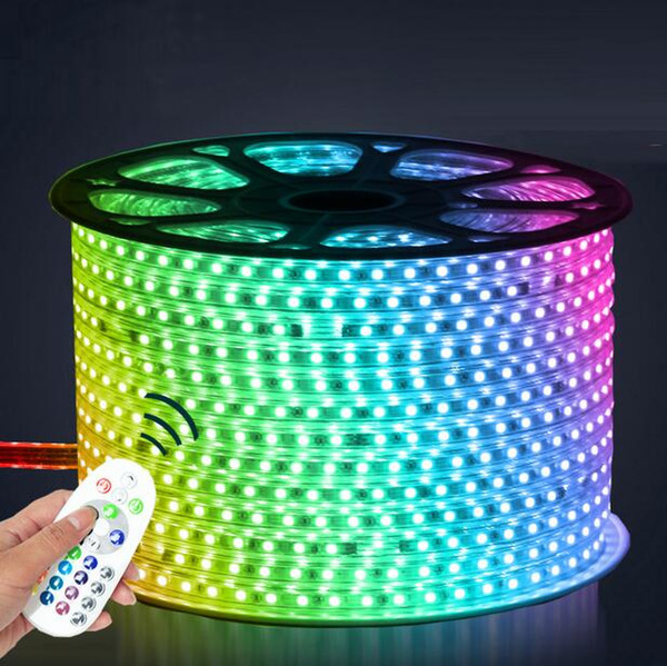 110v 220v led  trip 5050 50m 100m ip67 waterproof rgb dual color rope lighting for outdoor with rf remote controller by dhl