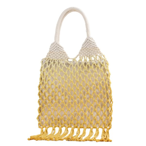 handmade cotton woven womens handbags and purses hollow rope tassel beach female net straw tote evening clutch bags (502093366) photo