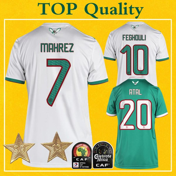 Maillot algerie 2 etoile  algeria  occer jer ey two  tar  2019 mahrez bounedjah feghouli maillot de foot algerie football  hirt
