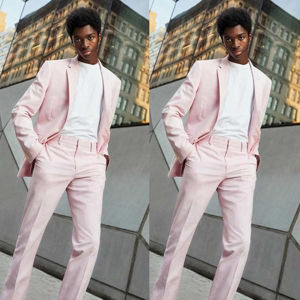 Мужской костюм выпускного вечера блейзер Groom Jacket Розовый деловой костюм брюки Homme Terno Masculino 2шт Лучший мужской костюм Slim Fit костюмы для мужчин фото
