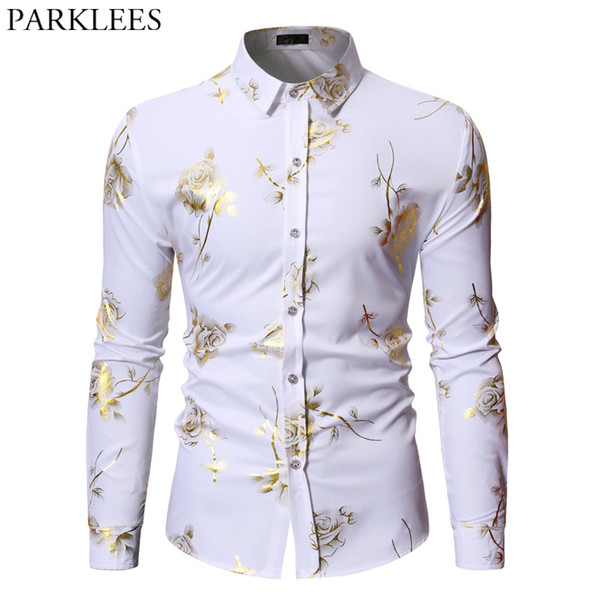 New fashion Mens Gold Rose Floral Print Shirts Floral Steampunk Chemise White Long Sleeve Wedding Party Bronzing Camisa Masculina