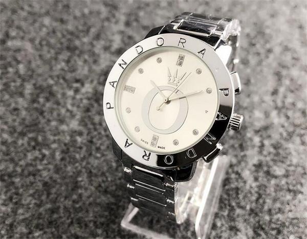 New men Diamond pandora watch Stainless steel luxury Casual wristwatch steel quartz watches mk dz dw women brand watch