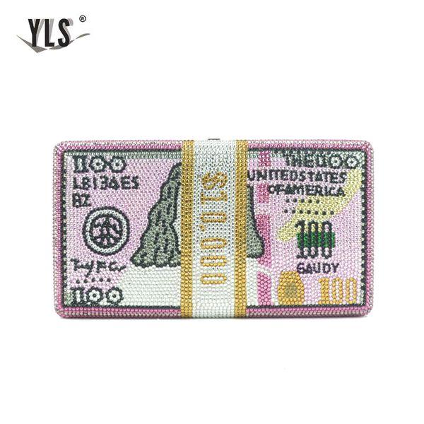 yls unique design usd $100 dollars money clutch women crystal diamond celebrity evening bags luxury pink party purses handbag (517097652) photo
