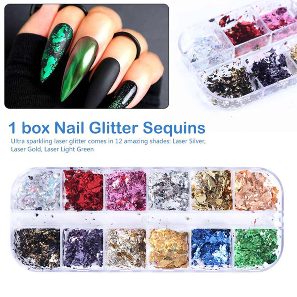 12 grid aluminum flakes nail glitter powder irregular mirror chrome pigment foil shredded paper manicure decor (508279566) photo