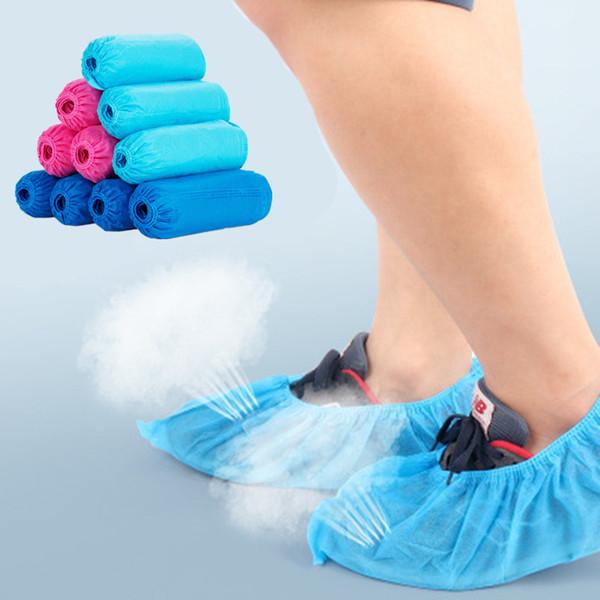 1 упак./100 шт одноразовые бахилы водонепроницаемые бахилы пластиковые бахилы дождь бахилы многоцветные опционально защитная обувь носить фото