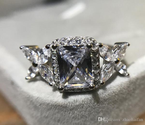 ZHF Jewelry 2ct обручальные кольца стерлингового серебра 925 пробы обручальные кольца для женщин высокое качество фото