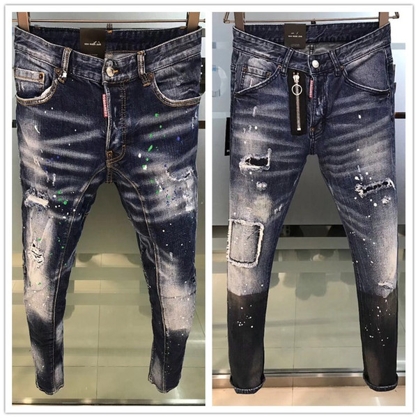 Mens Cool luxury Italian Brand Pencil Jeans Skinny Ripped Destroyed Stretch Slim Fit Hop Hop Pants With Holes For Men