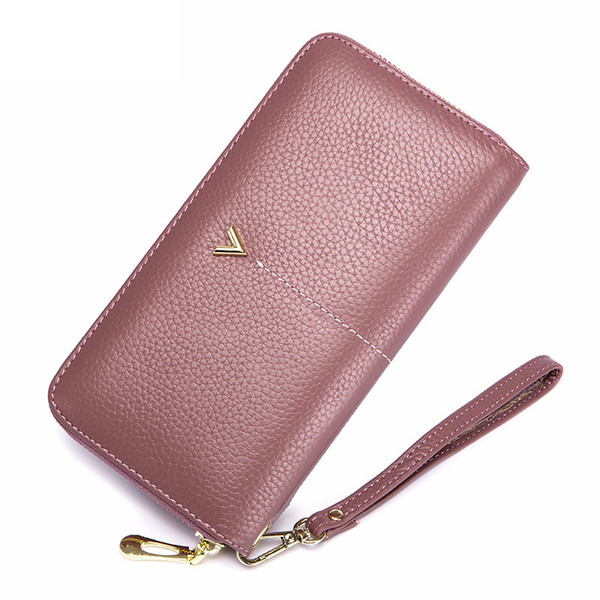 2019 new leather women wallet female fashion women purses casual female solid large capacity wallet coins long zipper purses (513254897) photo