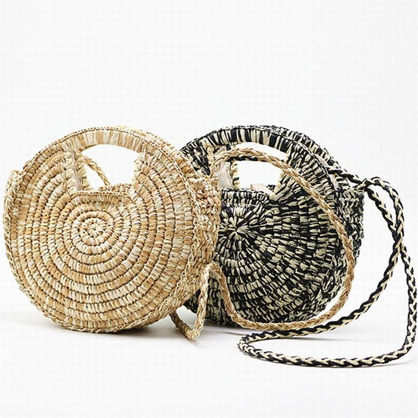 textured round straw bag beach boho french market strawbag women weave shoulder bag round summer beach purse and handbags (521673671) photo