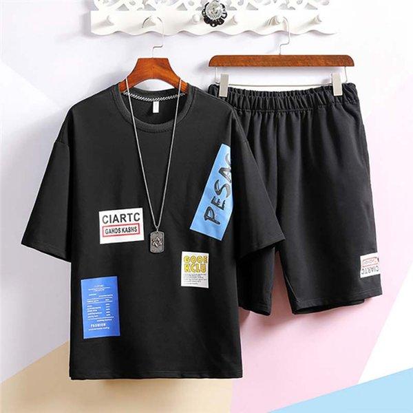 2020 новое поступление дизайнерские Мужские спортивные костюмы модные летние мужские футболки + шорты брендовые мужские повседневные спортивные костюмы размер S-3XL фото