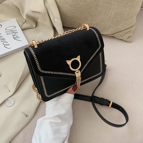chain vintage pu leather unique fringe cat lock designer women's handbags purses 2020 new women shoulder crossbody bag bags (529680021) photo