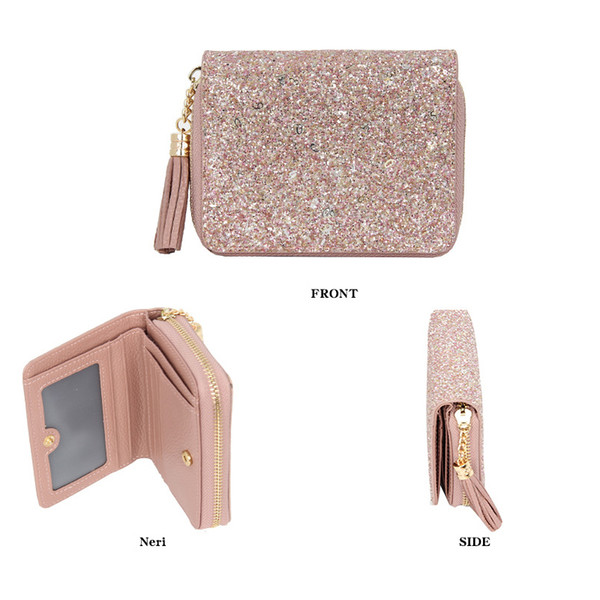 women wallet genuine leather short sequined shining tassel woman s holder purse change coin purse bag (524569450) photo