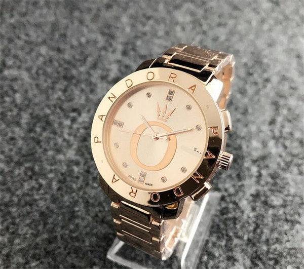 New men Diamond pandora watch Stainless steel luxury Casual wristwatch steel quartz watches mk dz dw women brand watch free shipping