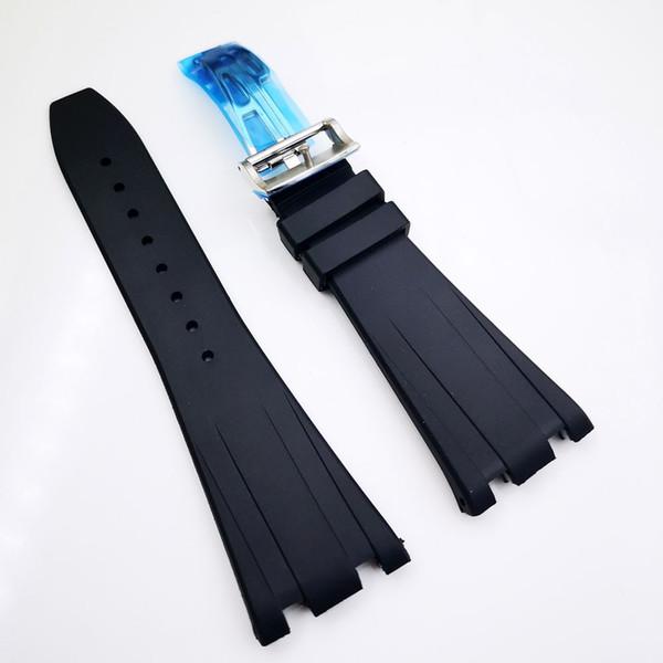28мм / 18мм мужская черная роскошная высококачественная силиконовая резина с отдел фото