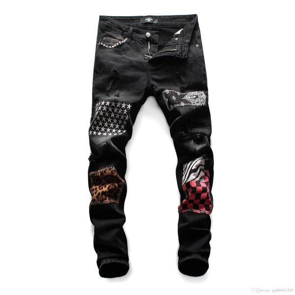 Новый Проблемные Ripped черный патч джинсы Тонкий Fit Straight Motorcycle Biker Denim брюки Мода хип-хоп мужские дизайнерские джинсы Плюс Размер 28-38 фото