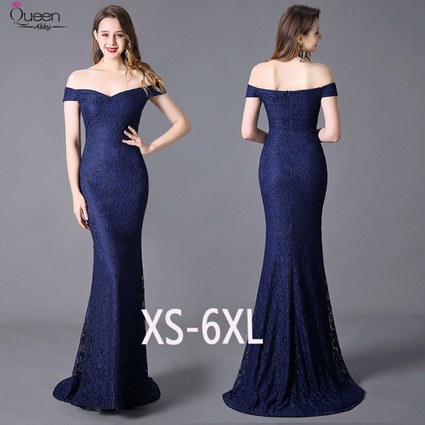 Sweep Train Lace Evening Dresses Long Mermaid Stretchy Plus Size Queen Abby Robe Soiree Sexy Party Women Wedding Guest Gowns