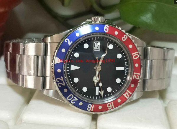 6 стили высокое качество часы BP завод 40 мм старинные 1675 GMT Пепси циферблат Сапфир А фото